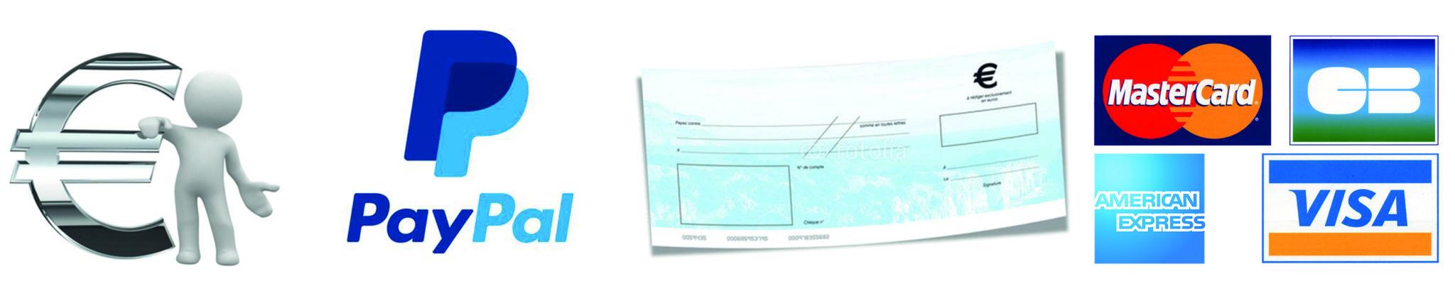 Espèces, Chèques, Carte Bleue, sont acceptées, ainsi que les paiements par Paypal.